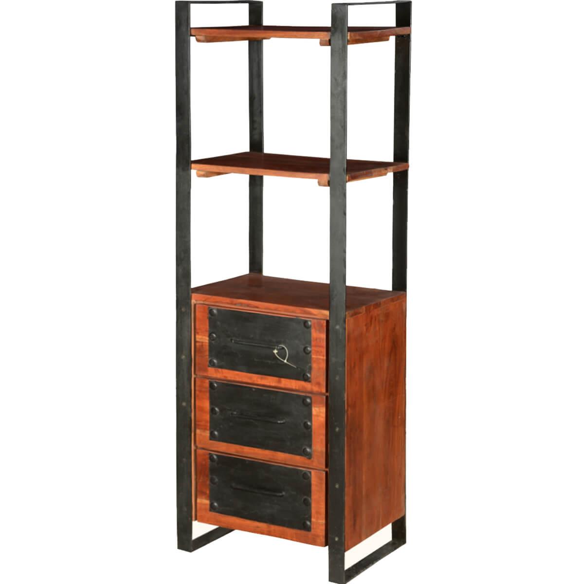 Nottingham Modern Mango Wood & Iron 3 Drawer 3 Shelf Tower
