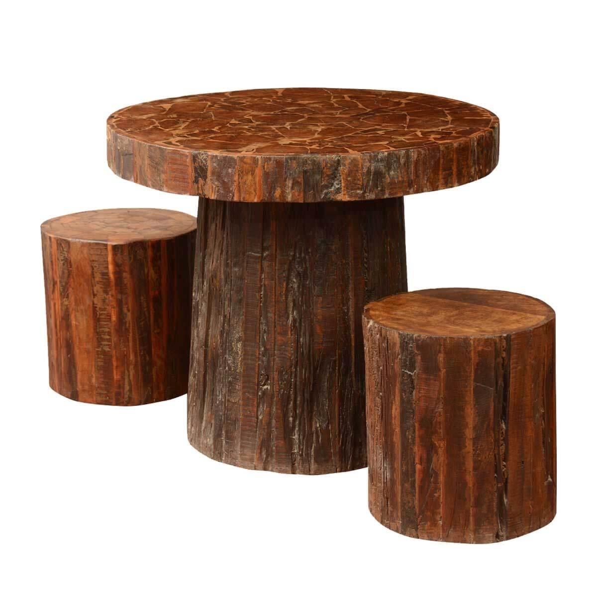 Astounding Log Cabin Mushroom Railroad Ties Wood 3Pc Dining Table Stool Set Download Free Architecture Designs Ferenbritishbridgeorg