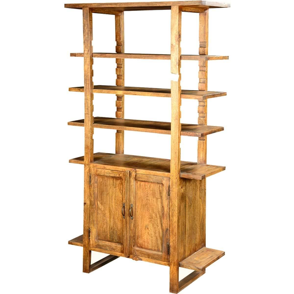 Beyond the Edge Mango Wood 70.5 4-Shelf Wall Unit Cabinet