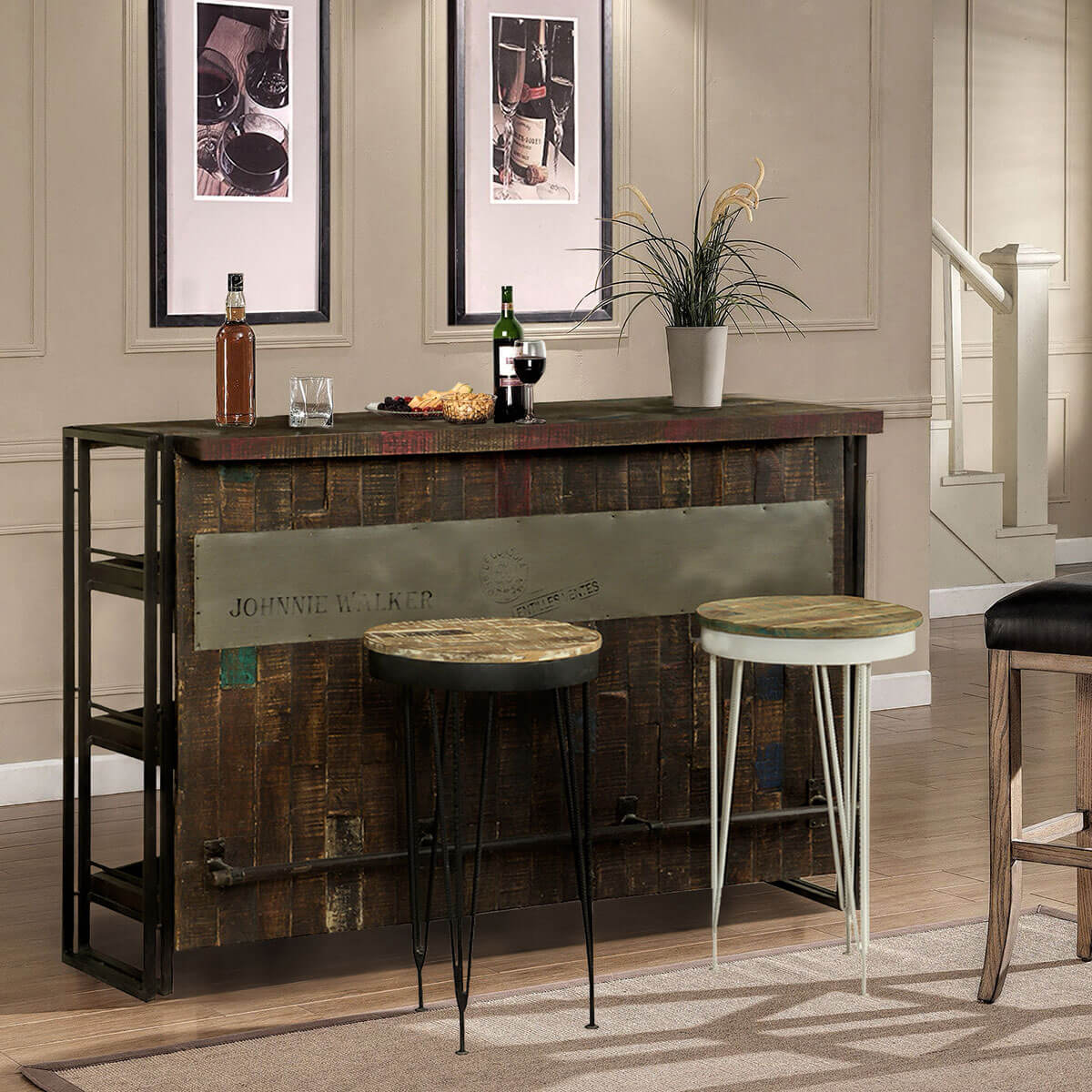 Gratis Modern Mango Wood Industrial Wine Bar Cabinet with 2 Stools