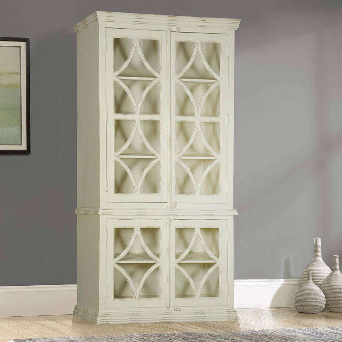 White Diamonds Solid Mango Wood Display Cabinet Armoire With Shelves