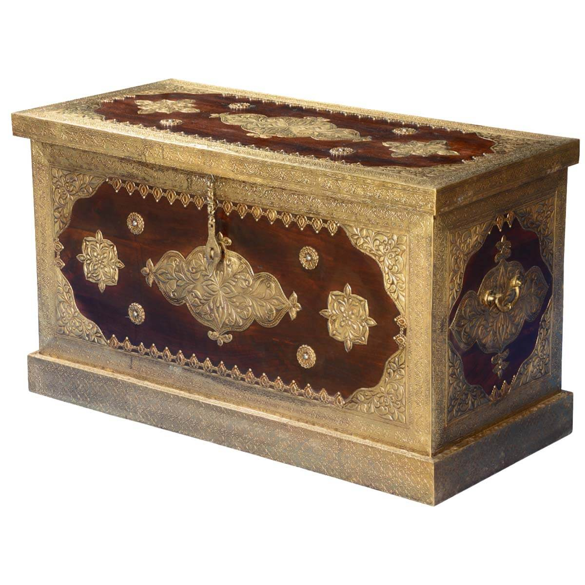 Golden Blossoms Mango Wood & Brass Inlay Coffee Table Chest