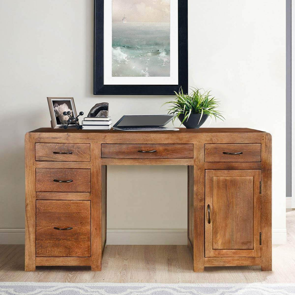 Sedona Solid Mango Wood Home Office Desks With File Cabinets