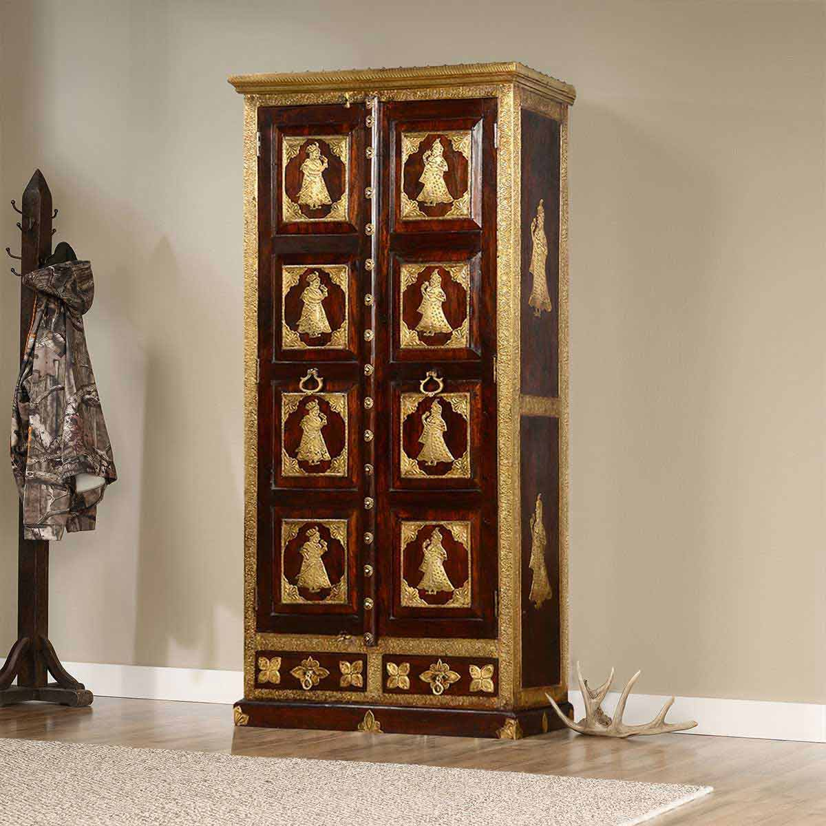 Palace People Mango Wood Handcrafted Brass Inlay Traditional Armoire
