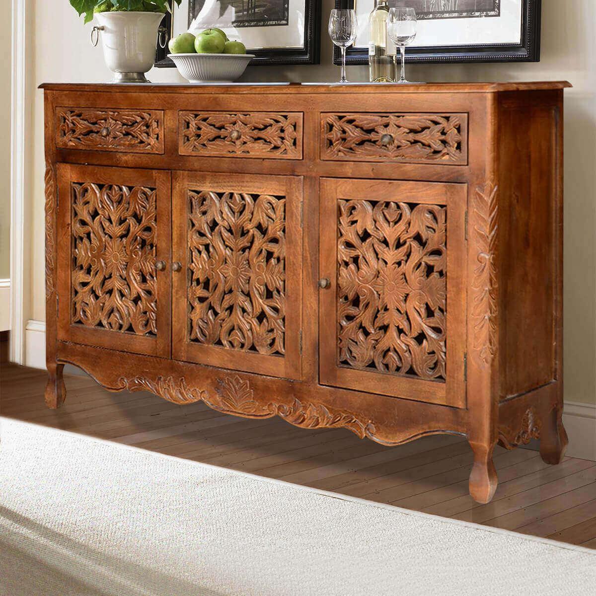 Pennsylvania Mango Wood Hand Carved Rustic Buffet Cabinet
