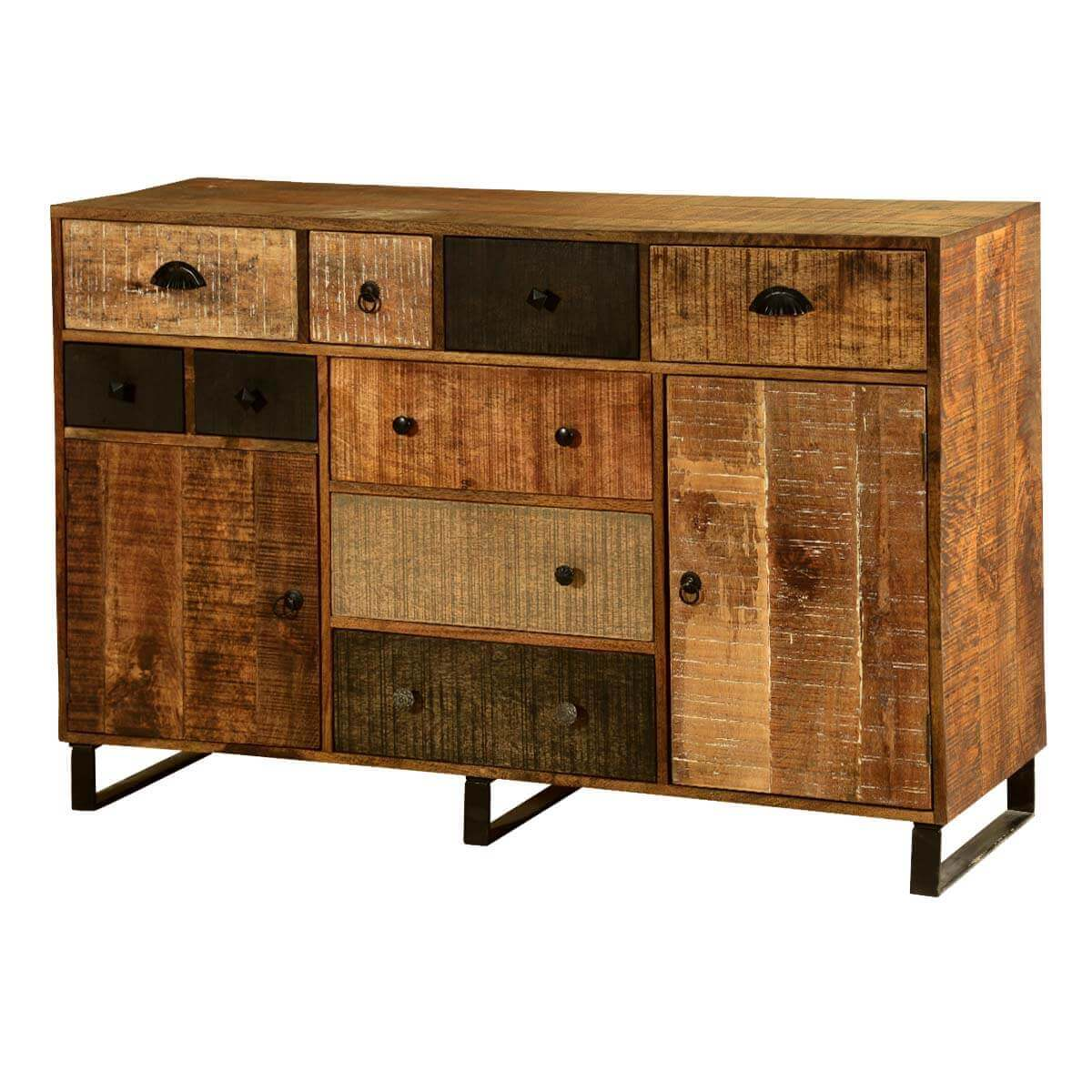 Coalton Wooden Patches Mango Wood Industrial Rustic Buffet Cabinet