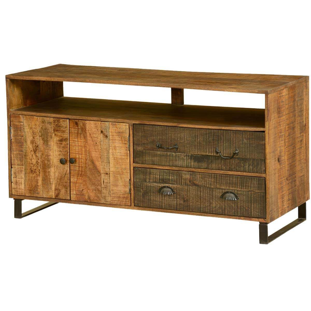 Wooden Patches Mango Wood & Iron 55 TV Console Cabinet