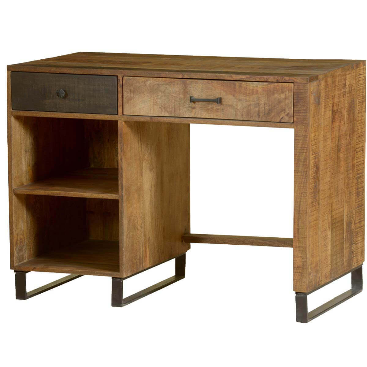 Wooden Patches Mango Wood & Iron Modern Desk w Open Shelves