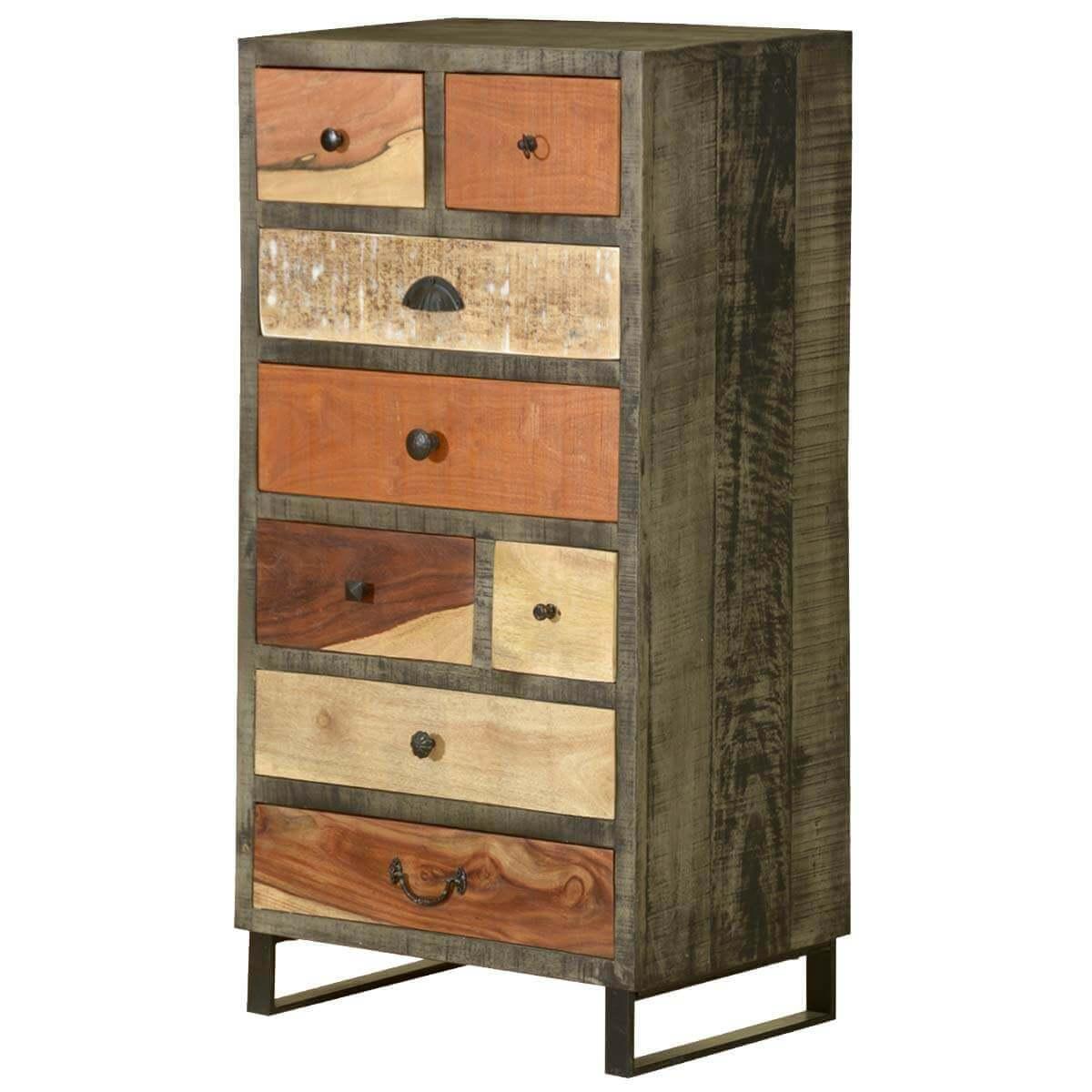 Wooden Patches Mango Wood & Iron 8 Drawer Dresser Chest