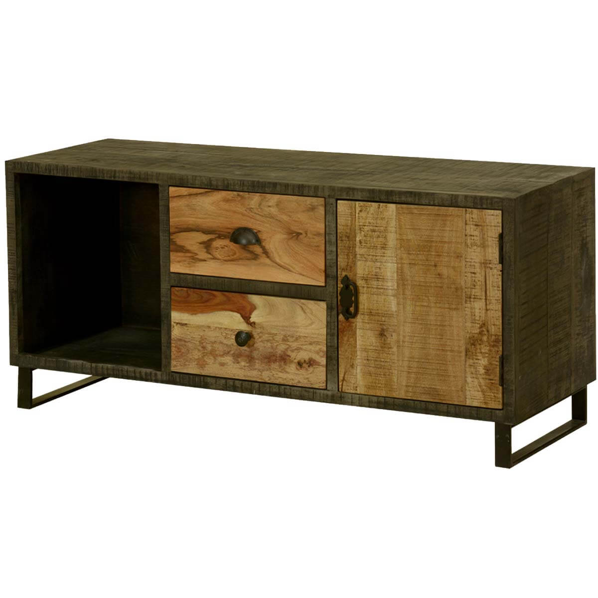 Allison Wooden Patches Rustic Mango Wood TV Stand Media Console