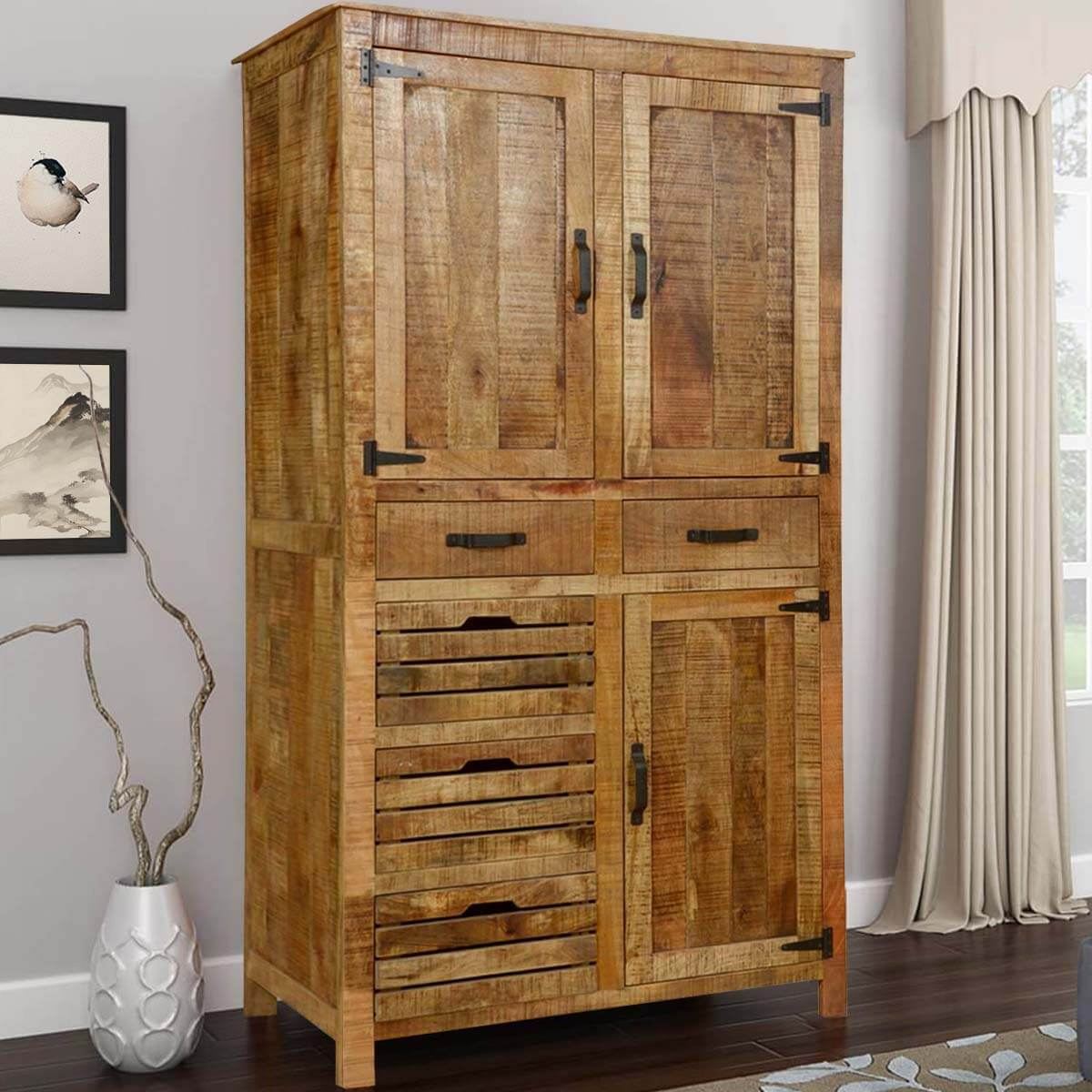 Avon Pioneer Rustic Solid Wood Armoire With Shelves And 5 ...