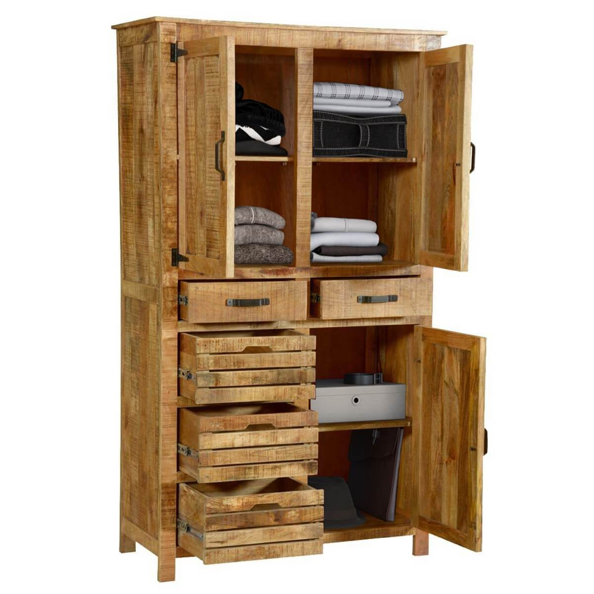 Avon pioneer rustic solid wood tall storage cabinet with 5 drawers