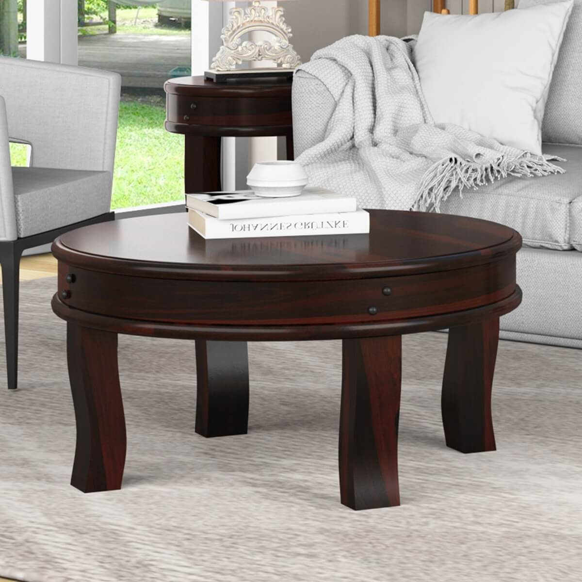 Manitoba Rustic Solid Wood Full Moon Round Coffee Table