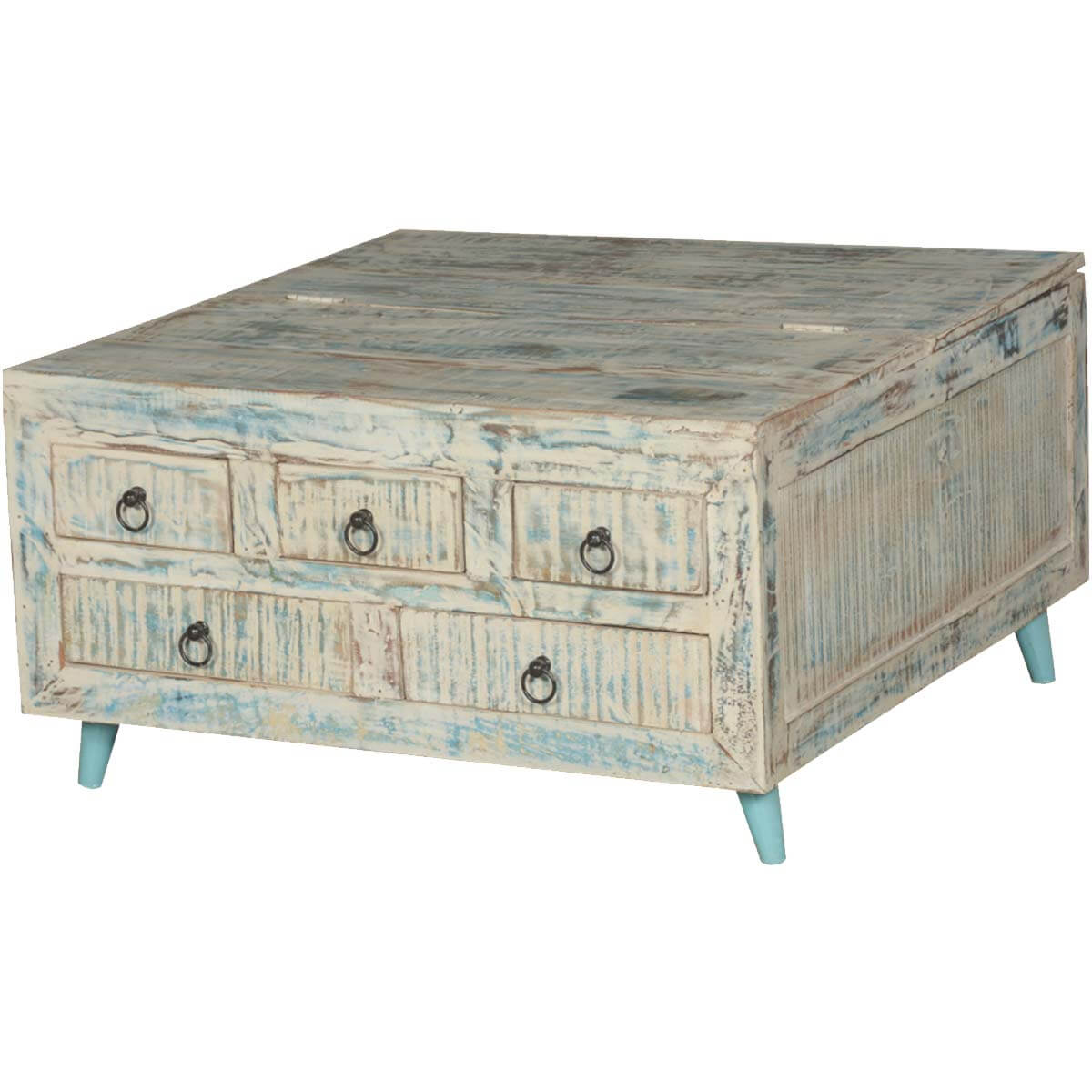 Vernon White Washed Reclaimed Wood Square Coffee Table 5 Drawer Chest