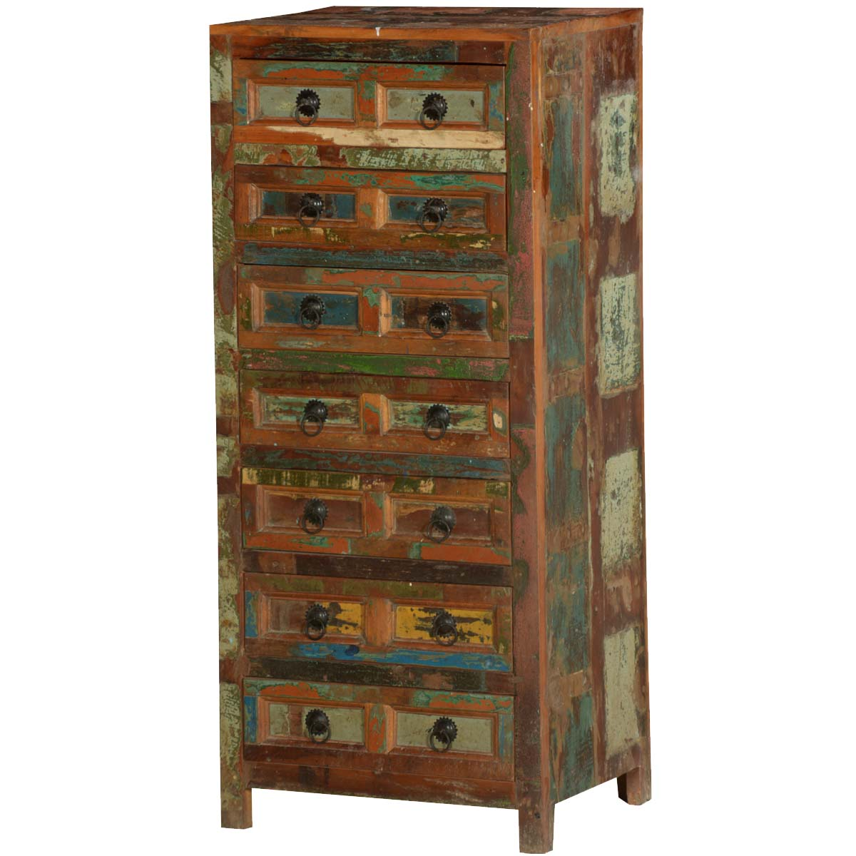 Pioneer Rustic Reclaimed Wood Standing 7 Drawer Tall Dresser