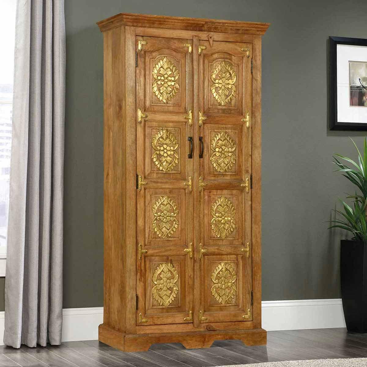 Cornlea Golden Medallion 2 Door Mango Wood Rustic Armoire With Shelves