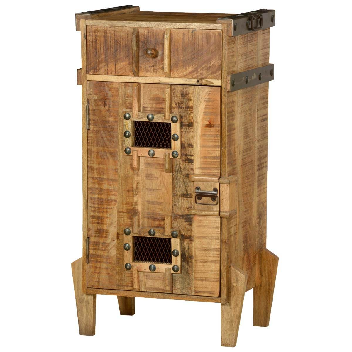 Gothic Tower Standing Farmhouse Rustic Storage Cabinet