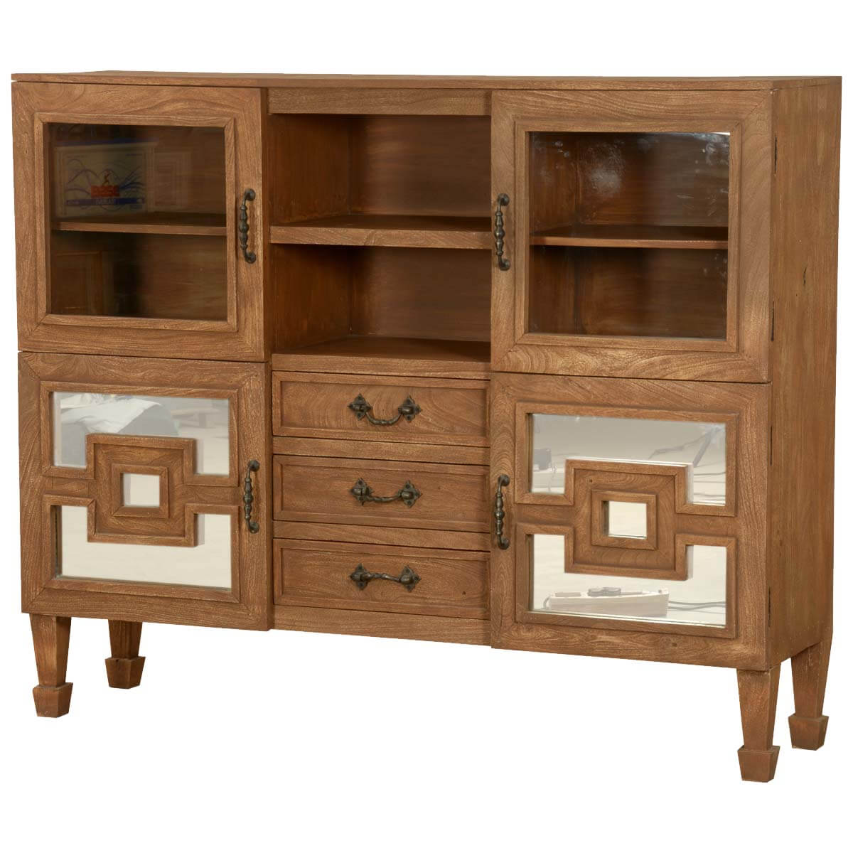 Brownville Acacia Wood 3 Drawer Standing Display Cabinet