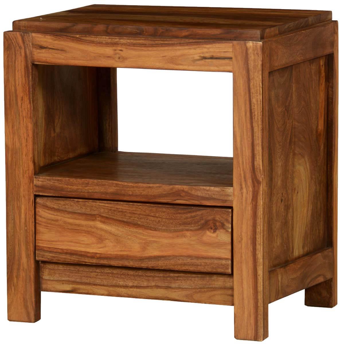Pioneer Modern Rustic Solid Wood Nightstand End Table w Drawer