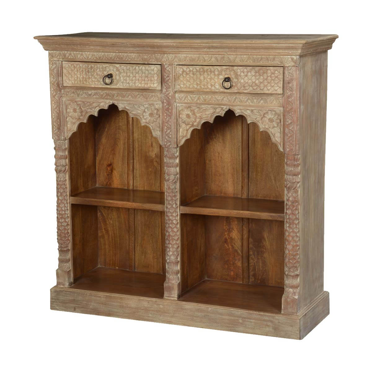 Dothan 4 Open Shelf Rustic Solid Wood Arched Bookcase With Drawers