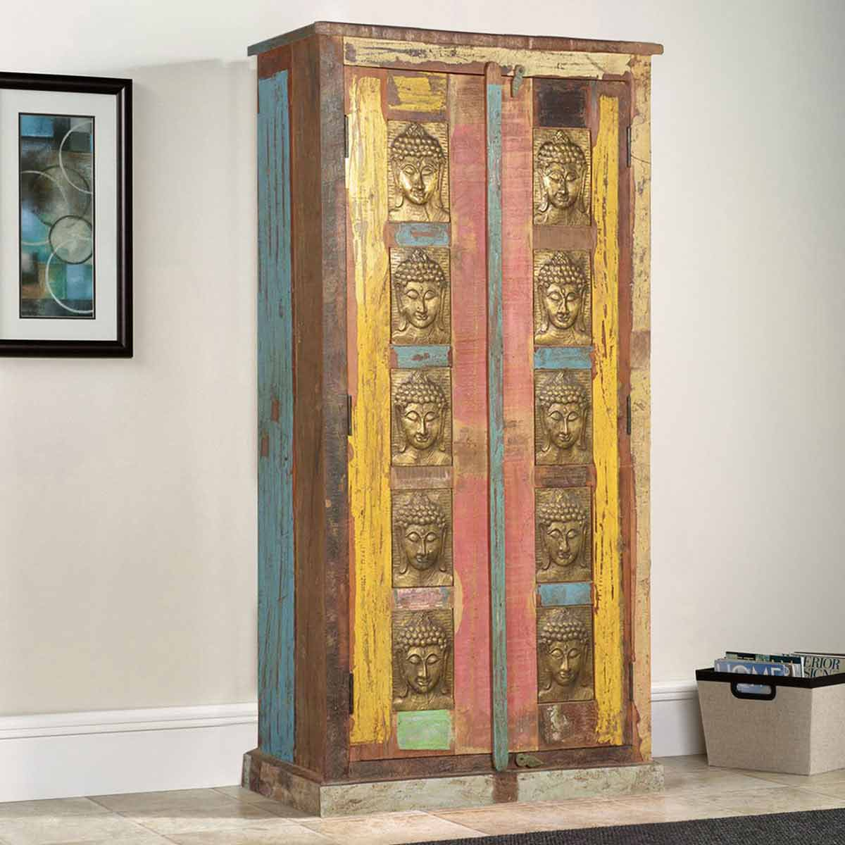Chesterhill Brass Buddha Rustic Reclaimed Wood Armoire With Shelves