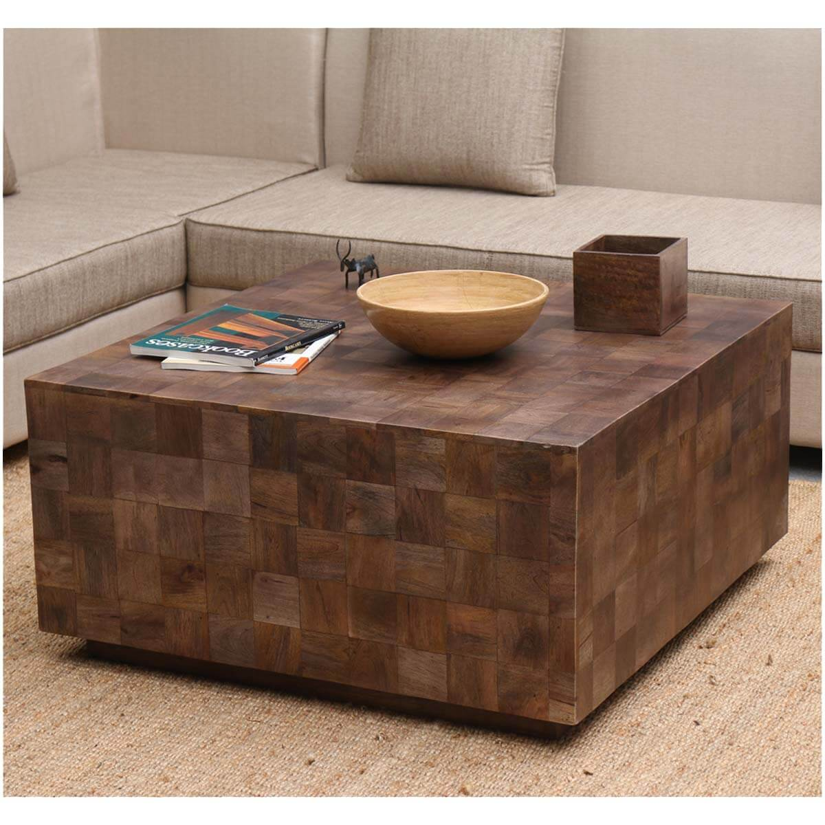 Modern Rustic Furniture Solid Wood 36 Square Coffee Table