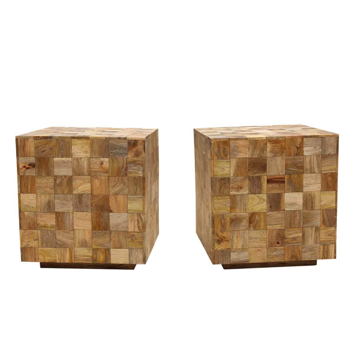 Modern Mosaic Mango Wood 22 Cube End Table-Set of 2