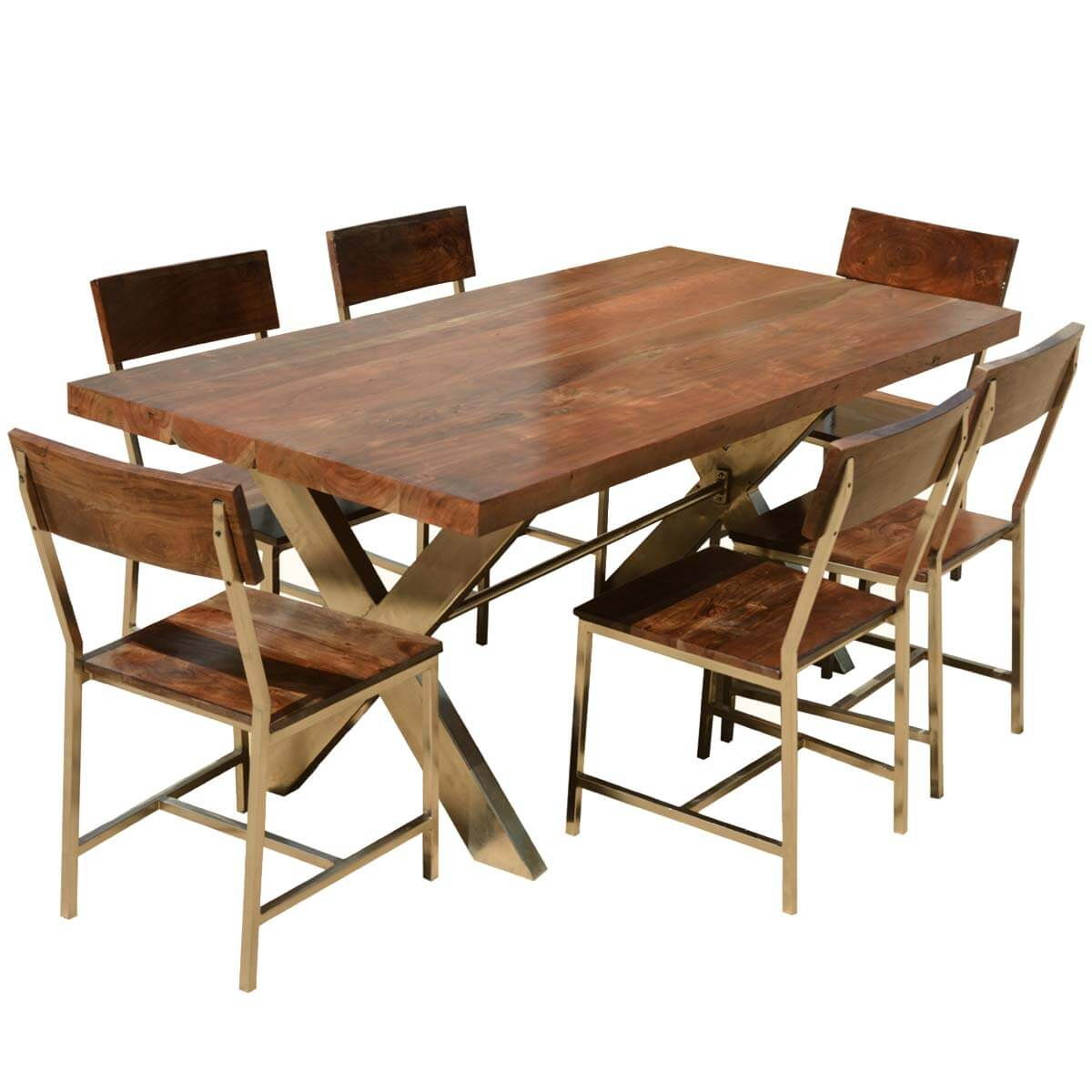 "Solid Wood & Iron Double X Pedestal 72"" Rustic Dining Table Chair Set"