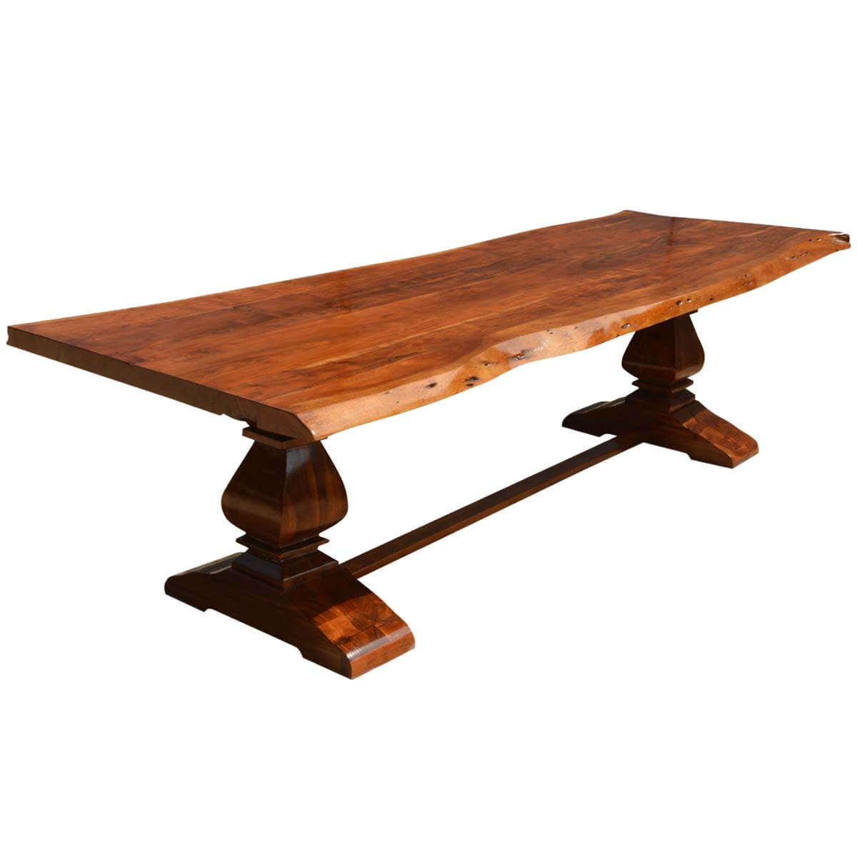 Live Edge Acacia Wood Trestle Farmhouse  Dining Table