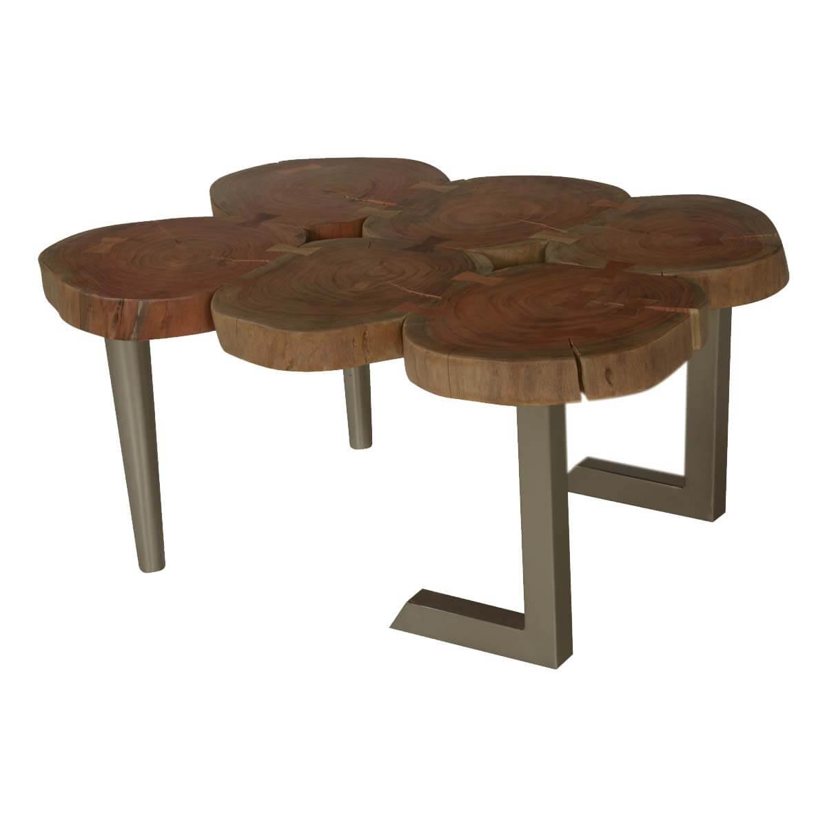 6 Stump Table Top Acacia Wood & Iron Centerpiece Coffee Table