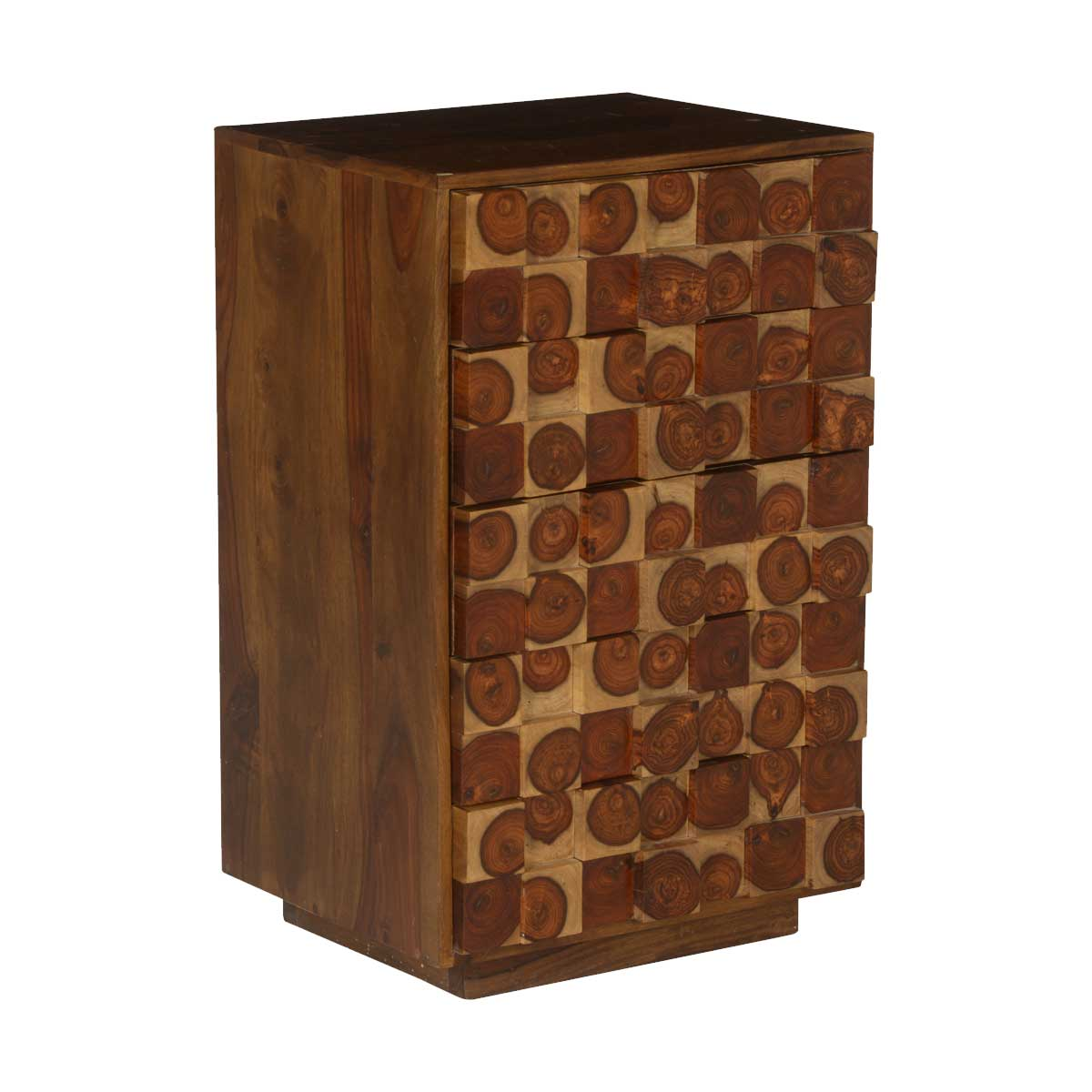 Arvada Tree Rings Tiles Solid Wood Chest of 5 Drawers