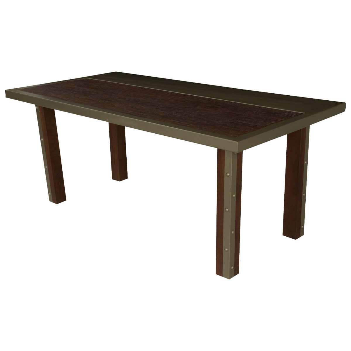 "Modern Industrial Mango Wood & Iron 71"" Dining Table"