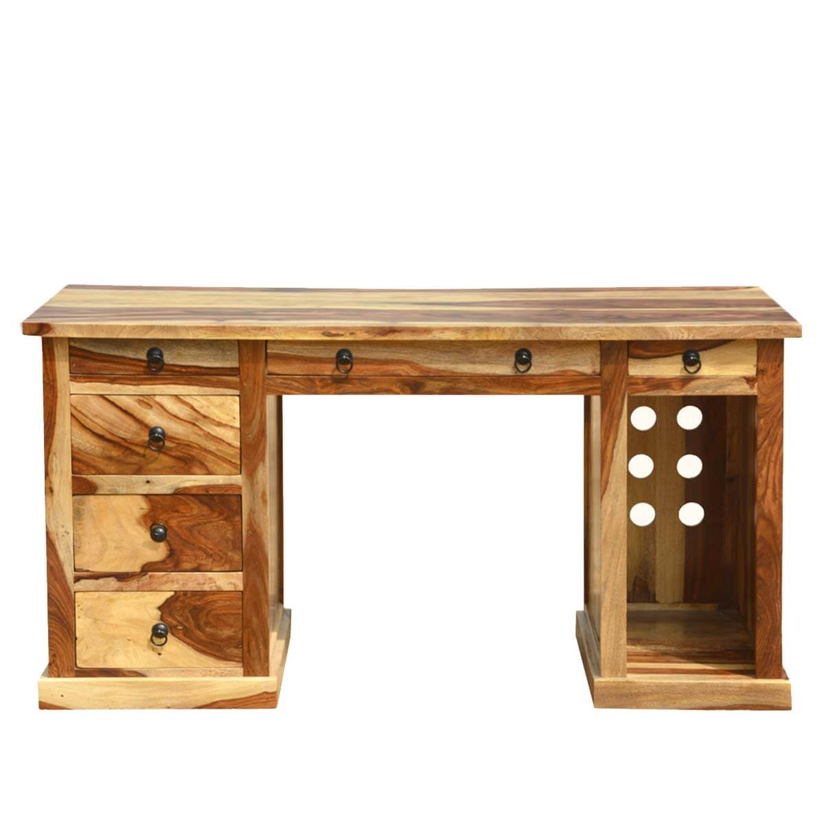Rustic Americana Hardwood Executive Desk Home Office: Dallas Ranch Solid Wood Contemporary Home Office Executive