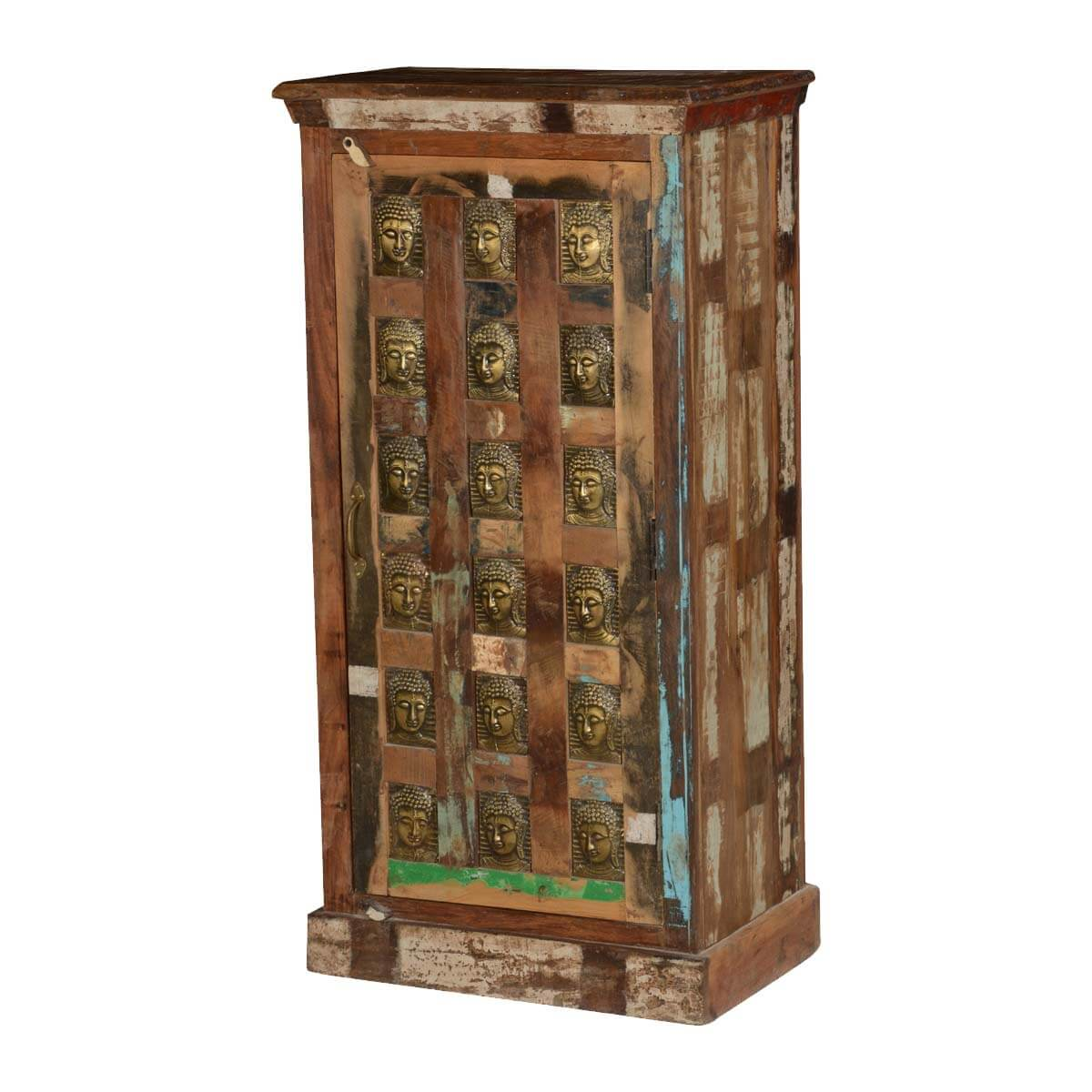 Winifred Rustic Reclaimed Wood Brass Inlay Buddha Storage Cabinet
