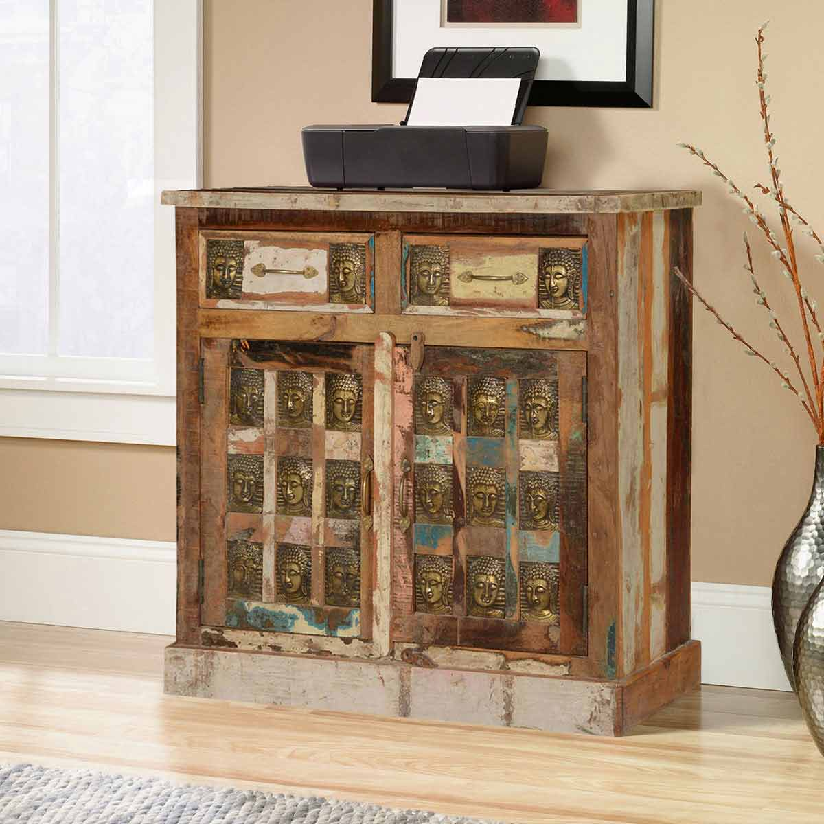 Winifred Reclaimed Wood Embossed Brass Buddha 2 Drawer Storage Cabinet
