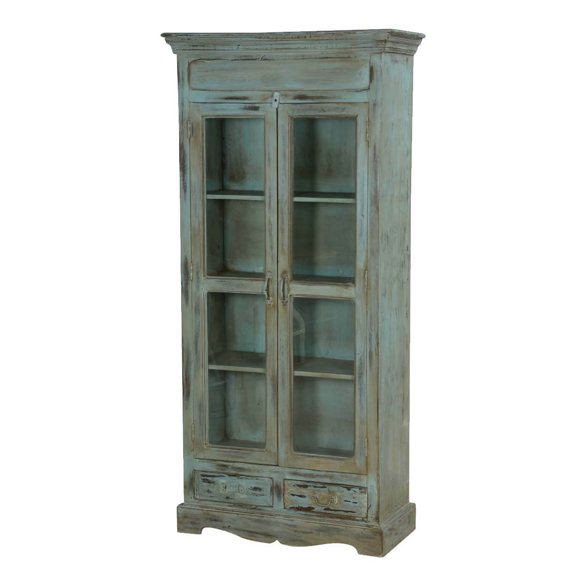 Tiro Blue Distressed Wood 4 Shelf Bookcase With Glass Doors & Drawer