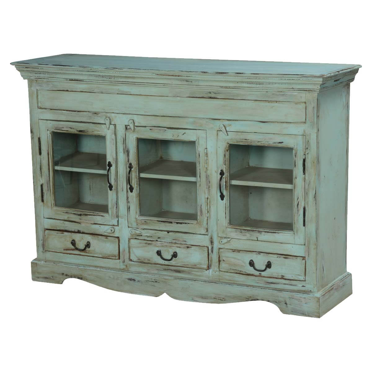 Dutch Boy Distressed Blue Mango Wood 3 Drawer Rustic Buffet Cabinet
