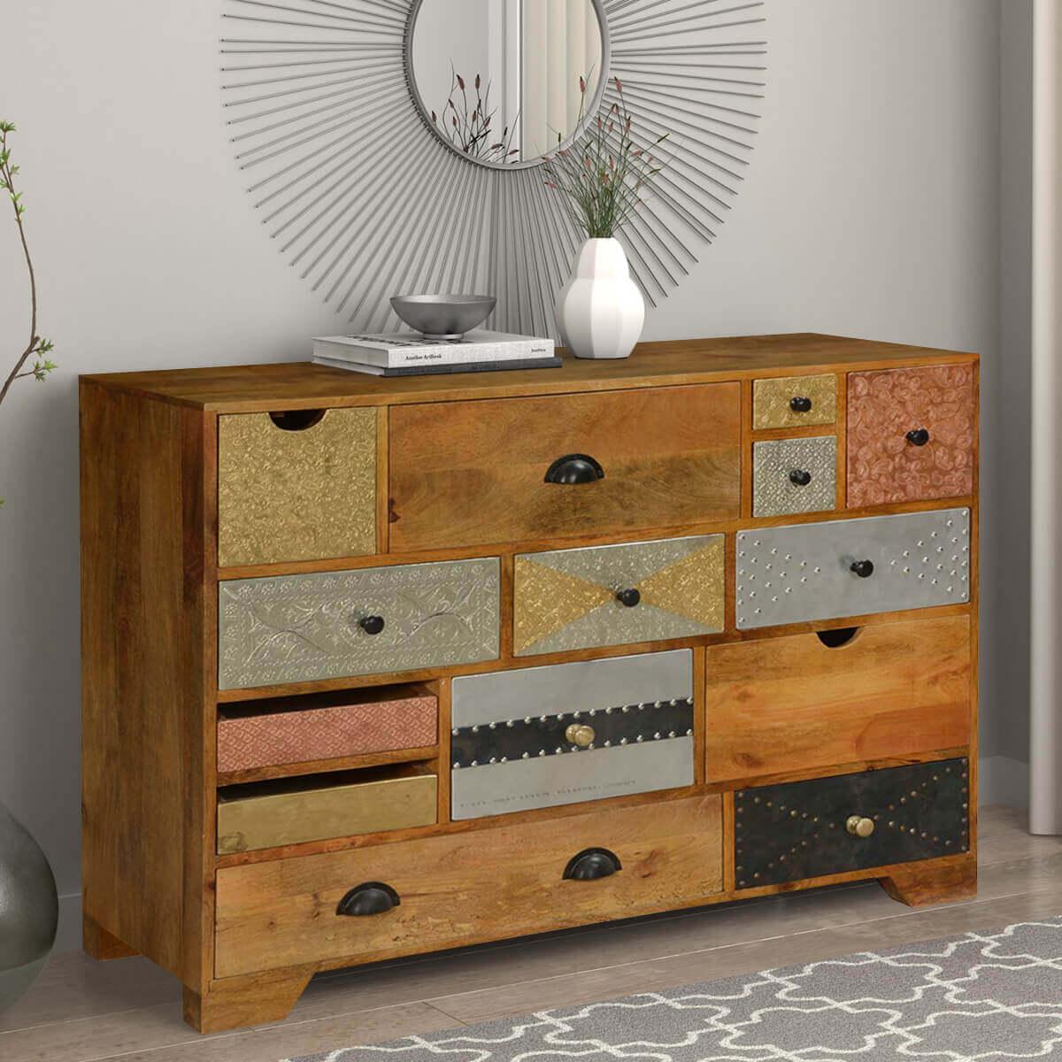 Crazy Quilt Mango Wood Standard Horizontal 17 Drawer Dresser