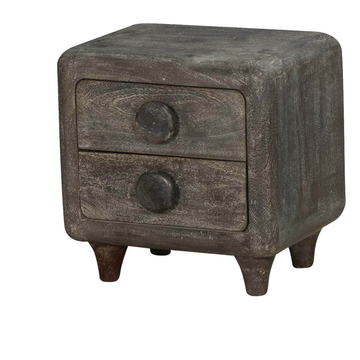 60's Smokey Mango Wood 2 Drawer End Table Chest