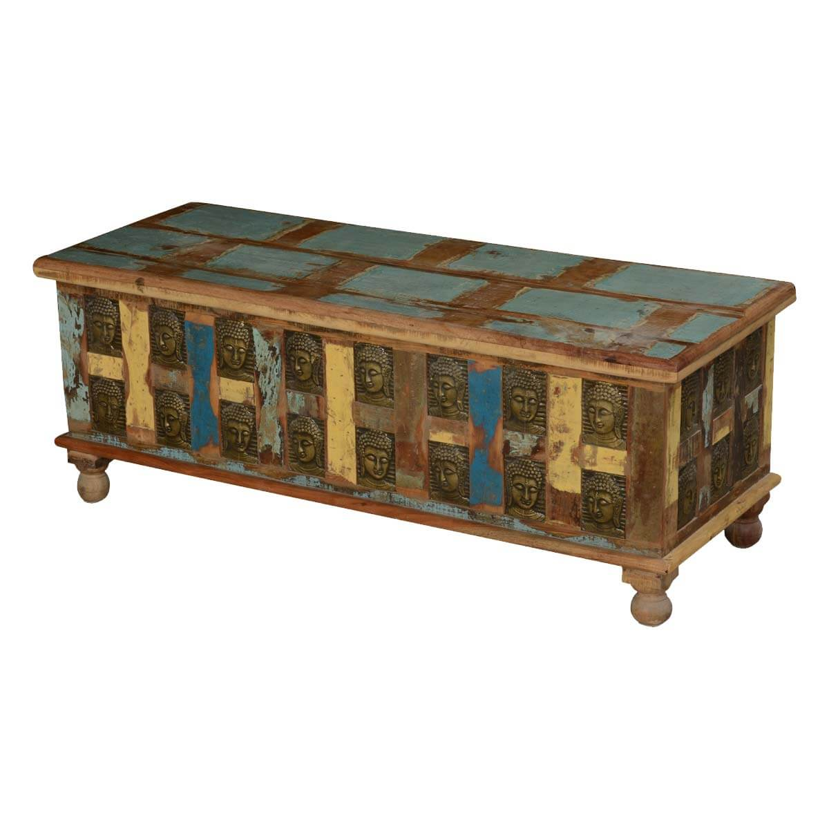 Winifred Rustic Reclaimed Wood Brass Inlay Coffee Table Storage Trunk
