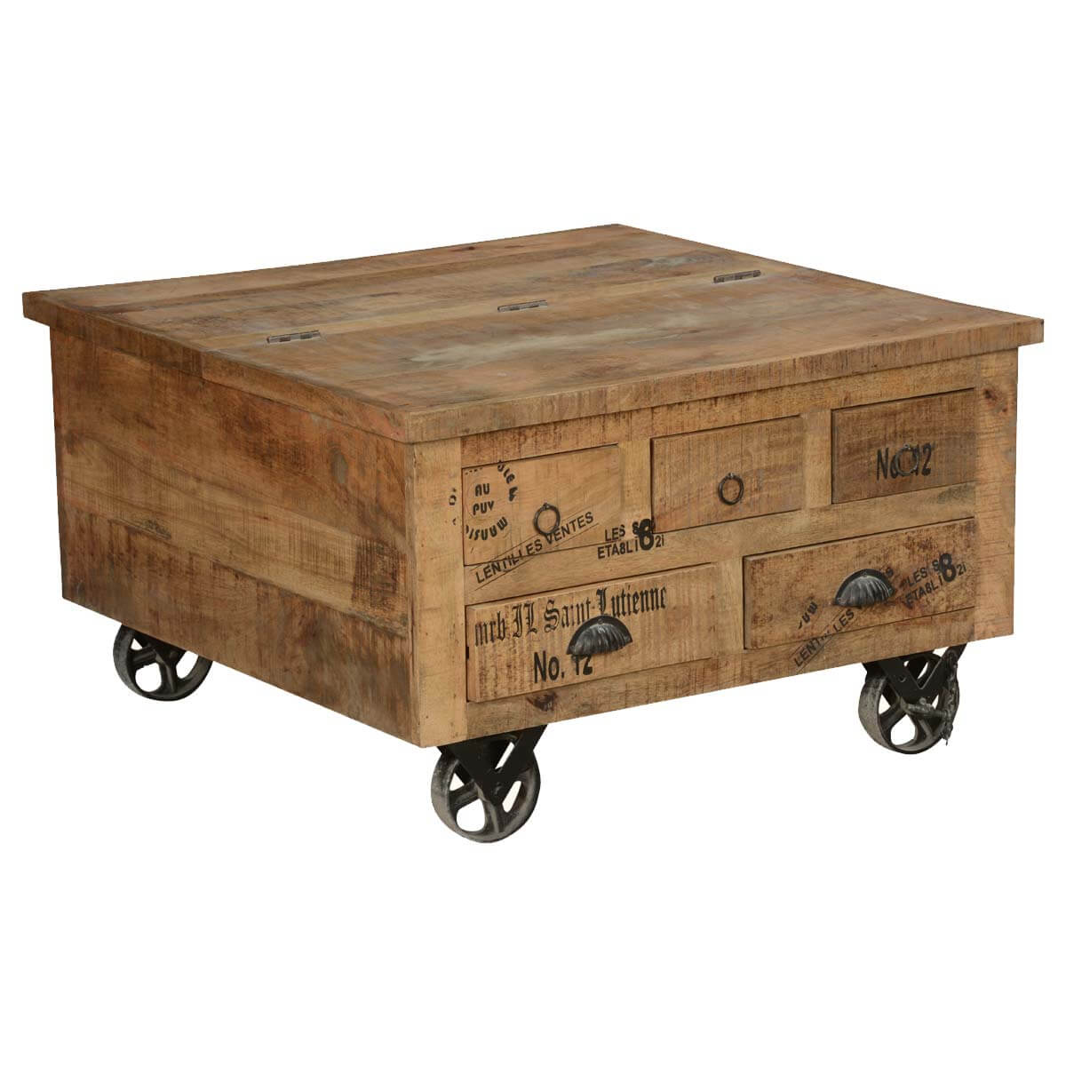 Industrial Style Solid Wood Square Storage Trunk 5 Drawer Coffee Table
