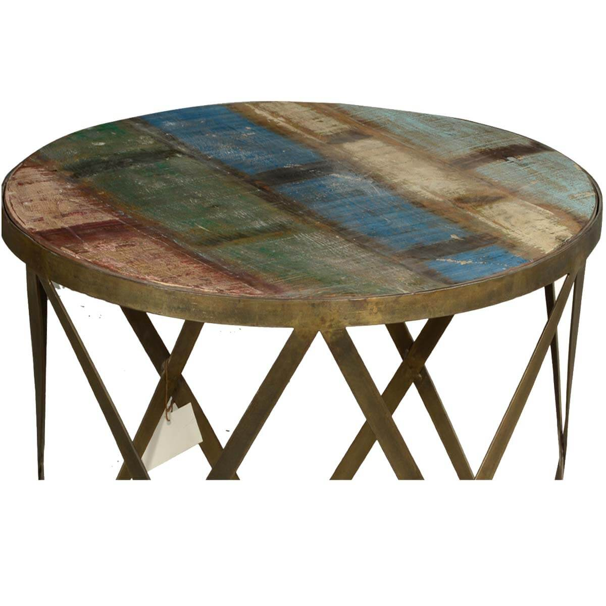 Retro Style Solid Wood And Iron Round Industrial Coffee Table