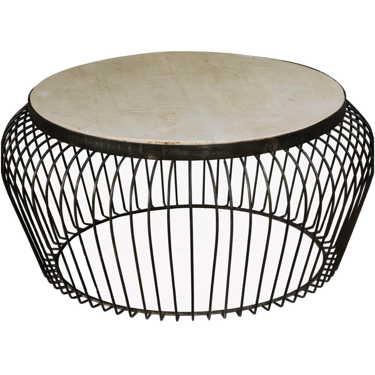 "Wire Basket Mango Wood & Iron 38"" Round Coffee Table"