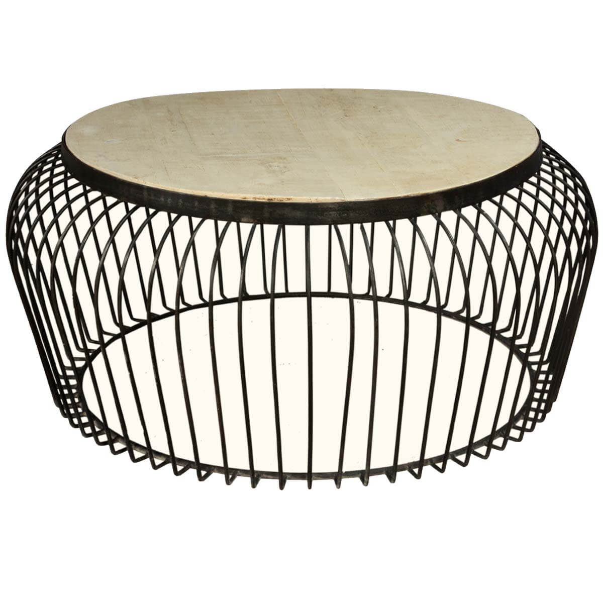 Wire Basket Mango Wood Iron 38 Round Coffee Table