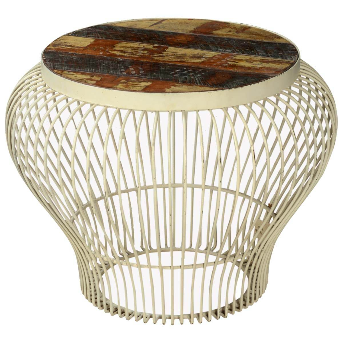 Light Bulb Shaped Reclaimed Wood & Iron Round Accent Table