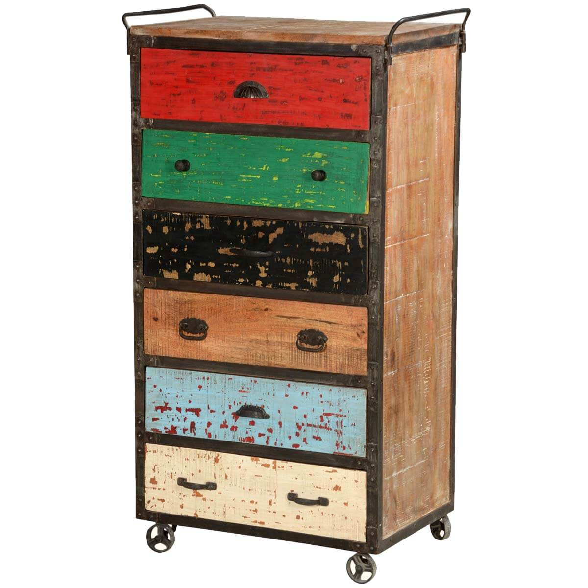 Primary Colors Mango Wood Rolling 6 Drawer Industrial Chest