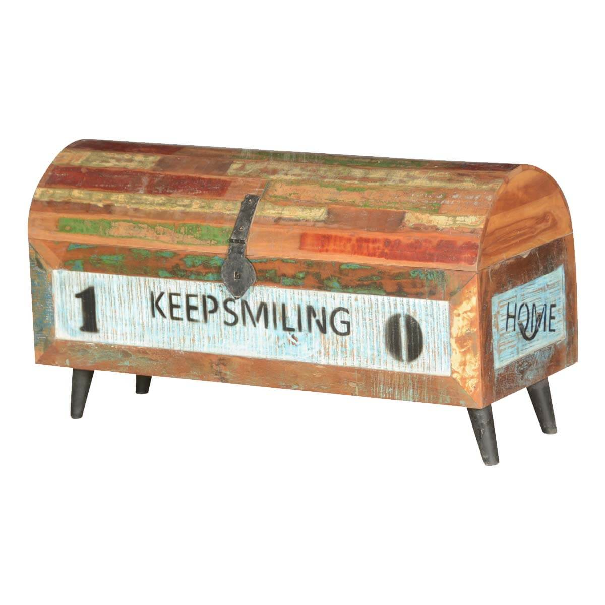 Keep Smiling Modern Frontier Reclaimed Wood Standing Barrel Chest