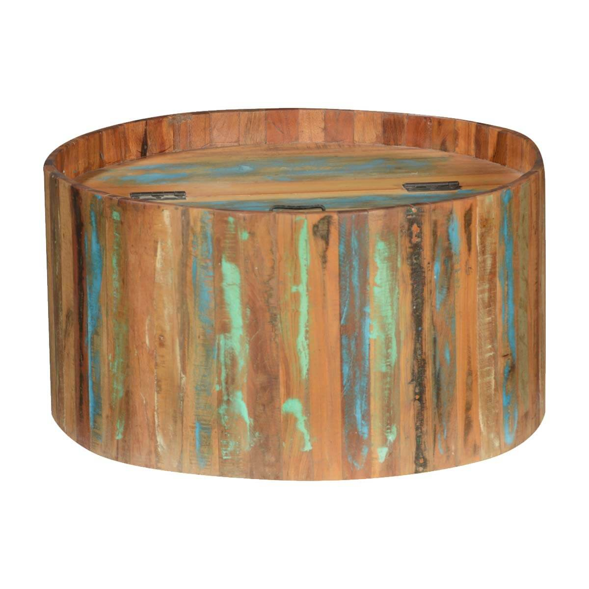 Arkport Reclaimed Wood Storage Round Coffee Table
