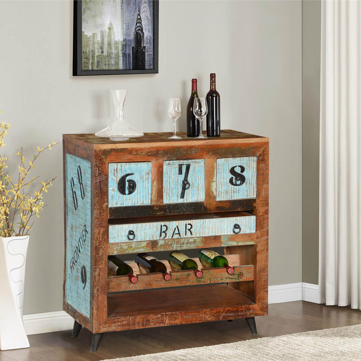 Hazlet By-The-Numbers Reclaimed Wood Wine Rack Bar Cabinet