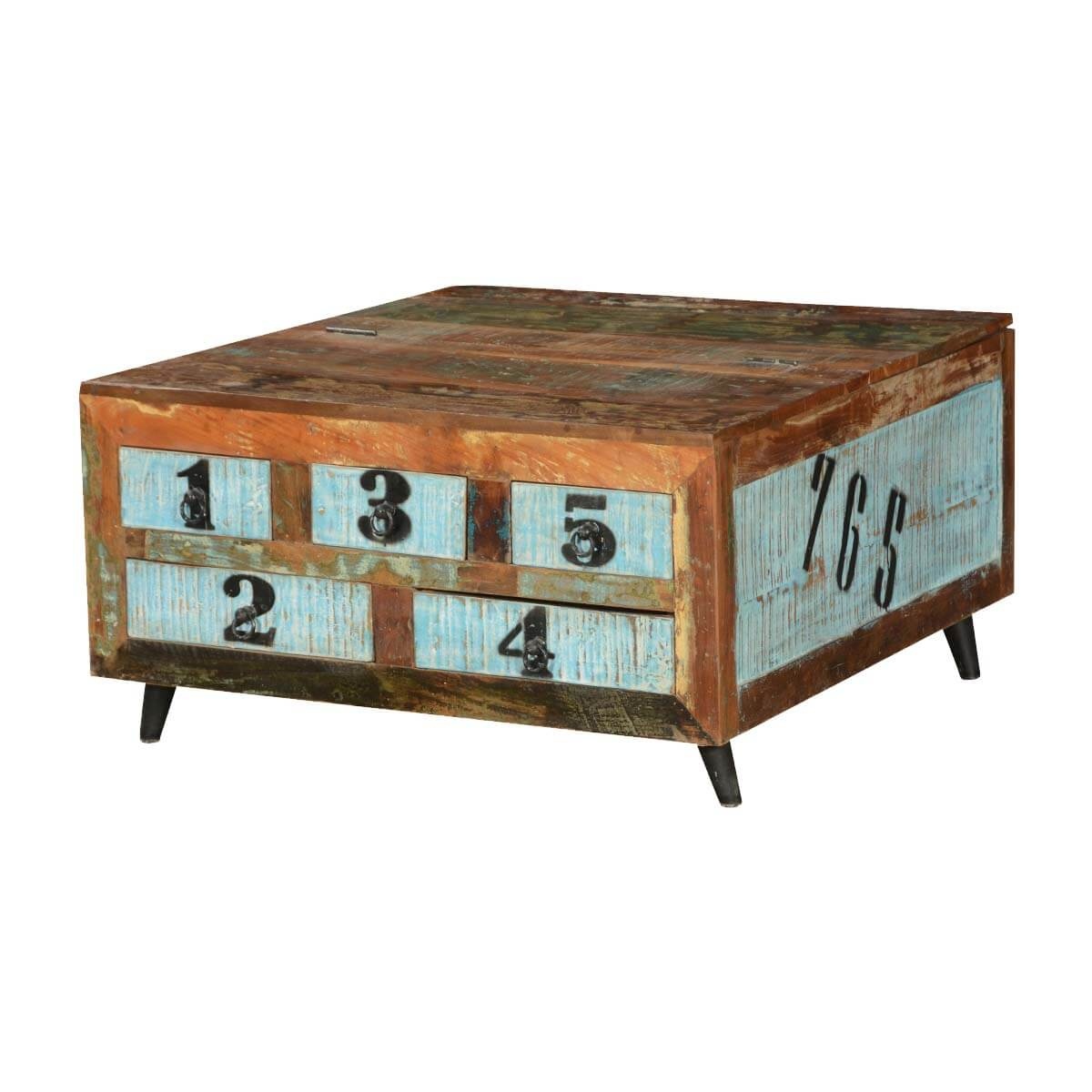 Elsmere Reclaimed Wood Standing 5 Drawer Square Coffee Table